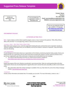 Suggested Press Release Template