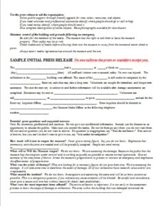 Template Press Release Sample