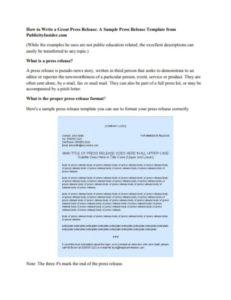 Writing Press Release Sample