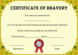 Bravery Certificate for Child
