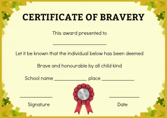 Bravery certificate 12 free printable templates to reward bravery so what is actually bravery yadclub Choice Image