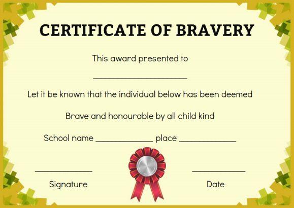 Bravery Certificate 12 Free Printable Templates To Reward Bravery