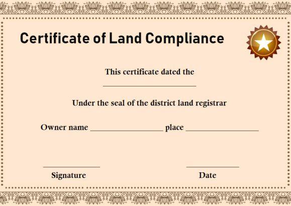 Certificate of Compliance Land Registry Template