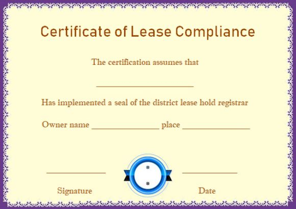 Certificate of Compliance Leasehold Template