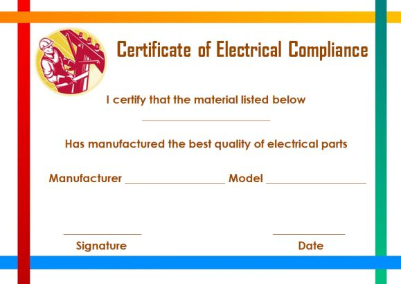 Certificate of Compliance Template for Electrical
