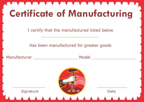 certificate of manufacture template - 16 downloadable and printable certificate of compliance