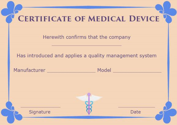 Certificate of Compliance Template Medical Devices