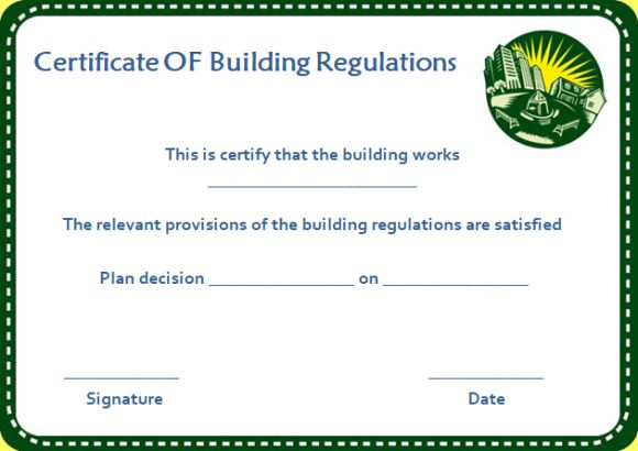 Certificate of Compliance with Building Regulations Template
