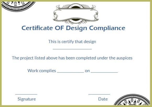Certificate of Design Compliance Template