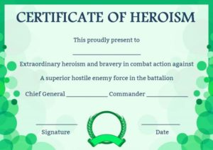 Certificate of Heroism Template