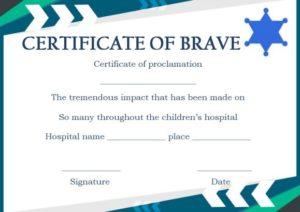 Children's Hospital Bravery Certificate