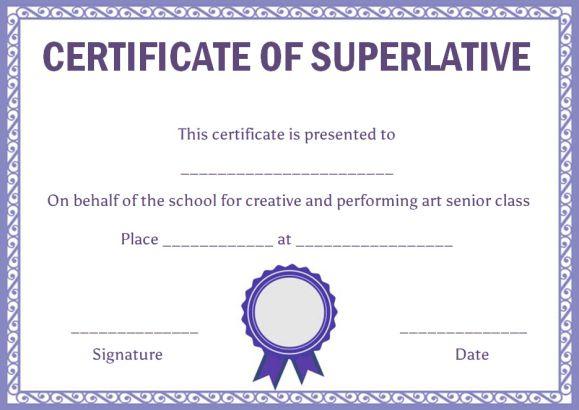 Class Superlative Certificate Template