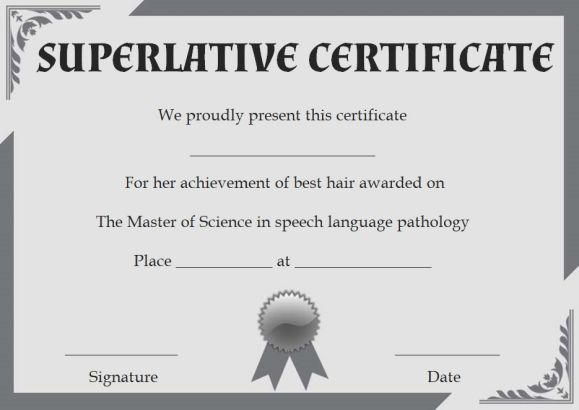Class Superlative Certificate Templates