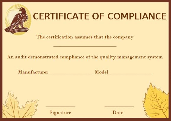 coc certificate of compliance template