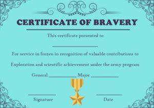 Frozen Bravery Certificate