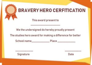 Hero Award Certificate Template