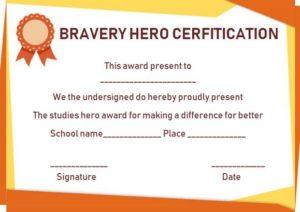Hero Award Certificate Template