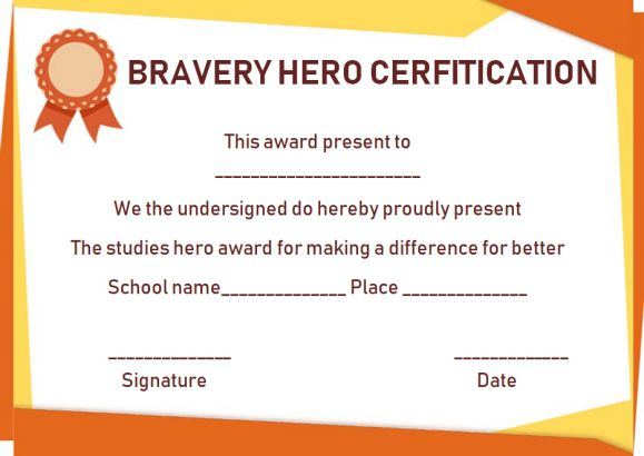Bravery certificate 12 free printable templates to reward for Bravery certificate template