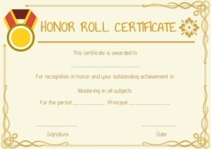 Honor Roll All Year Certificate