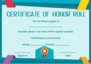 Honor Roll Certificates for Students