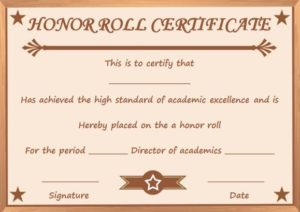 Honor Roll of Distinction Certificate