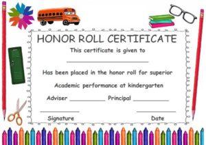 Kindergarten Honor Roll Certificate