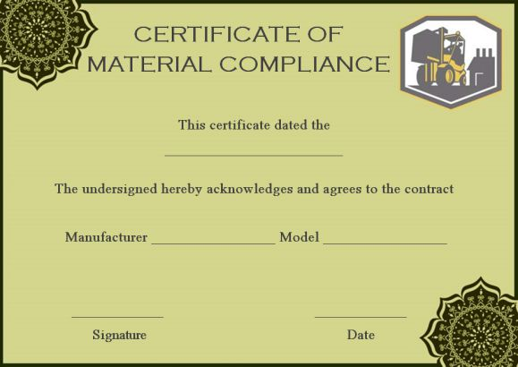 Material Certificate of Compliance Template