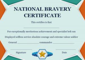 National Bravery Award Certificate
