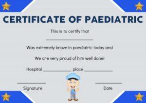 Paediatric Bravery Certificate