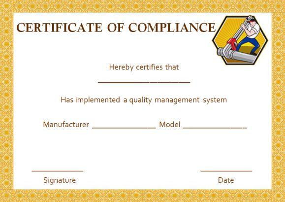 Plumbing Certificate of Compliance Template
