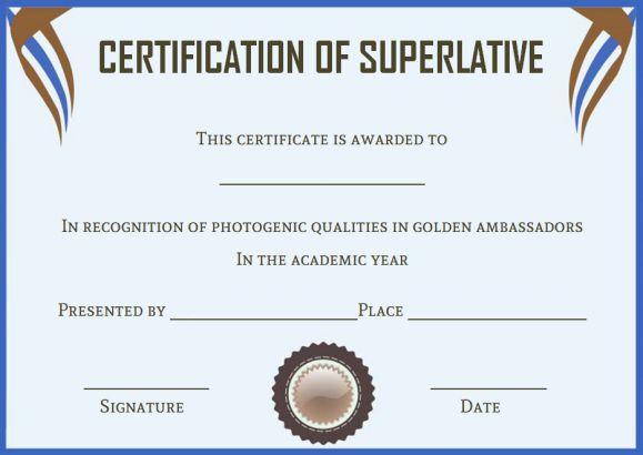 Senior Superlative Certificate Templates