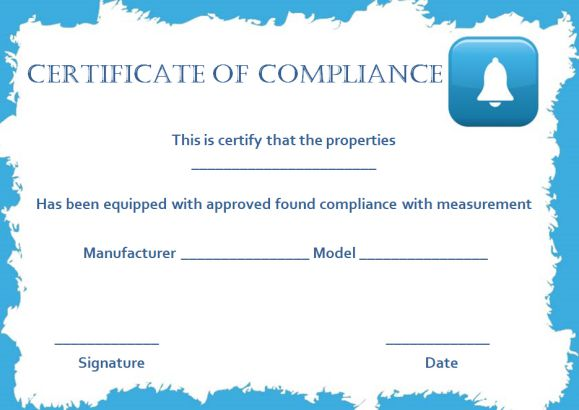 Smoke Alarm Certificate of Compliance Template