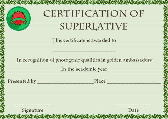 Superlative Award Certificate Template