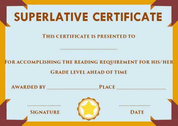 Superlative Certificate Template Word