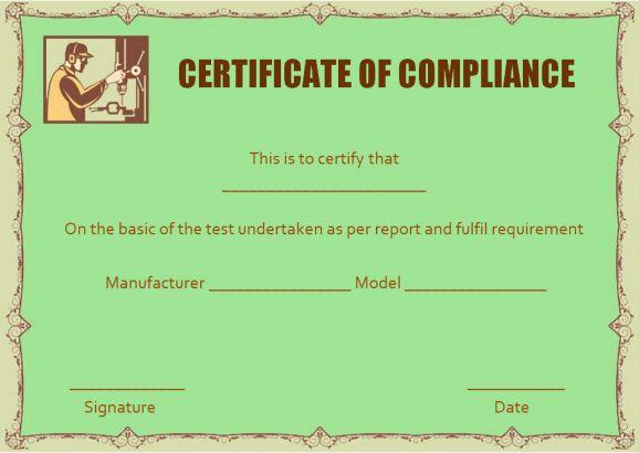 Waterproofing Certificate of Compliance Template